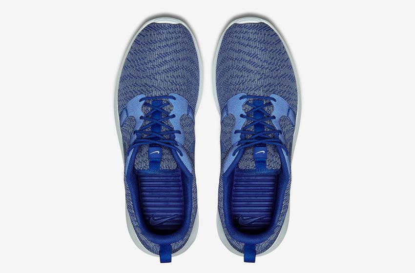 Nike Roshe One Knit Jacquard – modré boty, horní pohled – Nike Roshe Run, sneakers, běžecké tenisky