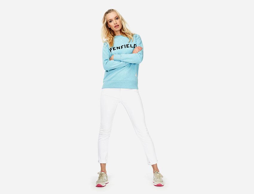 Penfield – tyrkysová (modrá) mikina – dámská, bílé skinny fit kalhoty – dámské – dámské oblečení – jaro/léto 2015