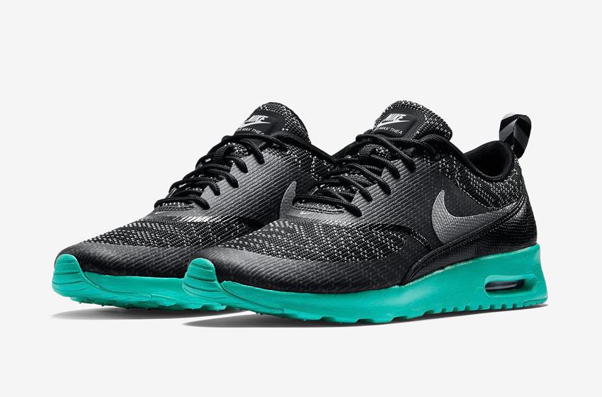 Nike Air Max Thea Jacquard – dámské tenisky, dámské boty – černé, tmavě šedé, zelená podrážka – běžecké sneakers