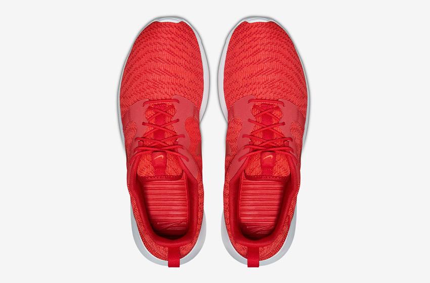 Nike Roshe One Knit Jacquard – červené boty, horní pohled – Nike Roshe Run, sneakers, běžecké tenisky