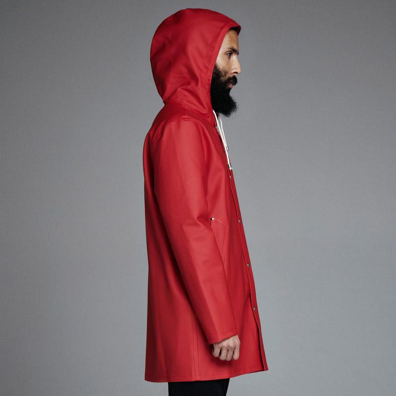 Stutterheim – plášť do deště s kapucí – pánský, dámský – červený