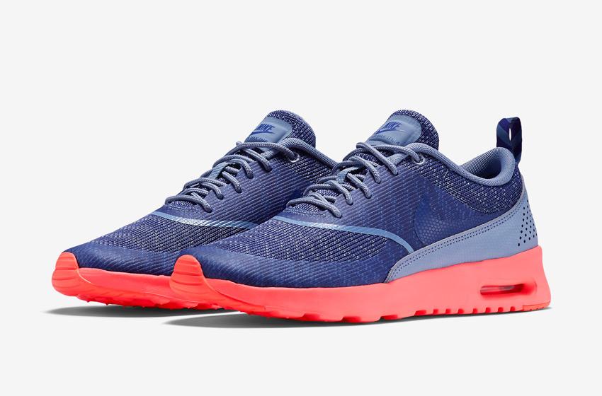 Nike Air Max Thea Jacquard – dámské tenisky, dámské boty – modré, růžová podrážka – běžecké sneakers