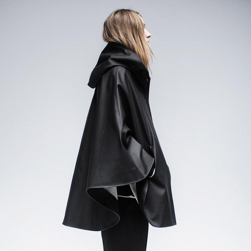 Stutterheim – plášť do deště s kapucí – dámský, pánský – černý