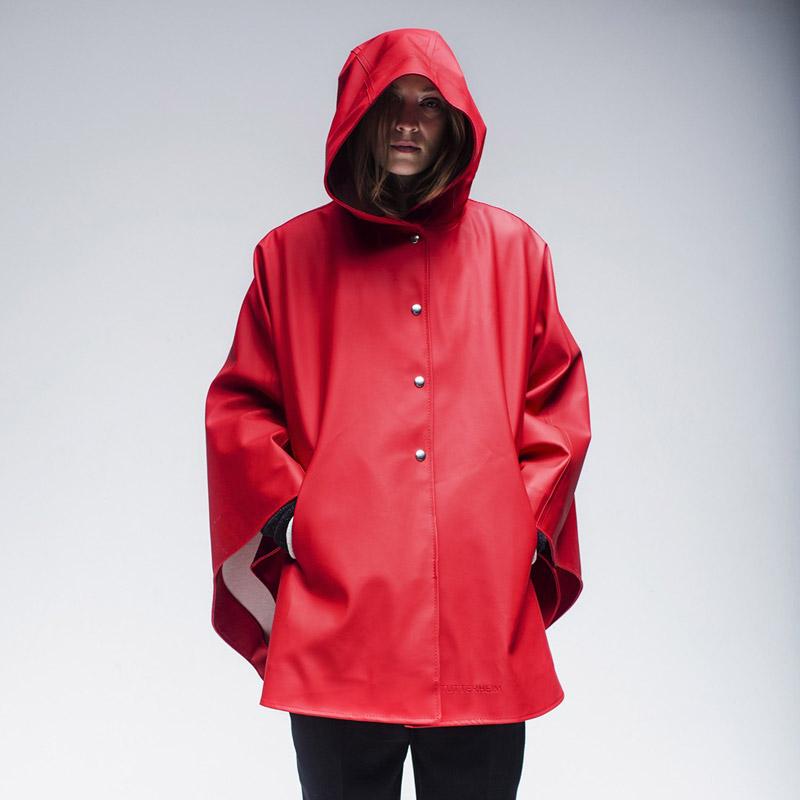 Stutterheim – plášť do deště s kapucí – dámský, pánský – červený