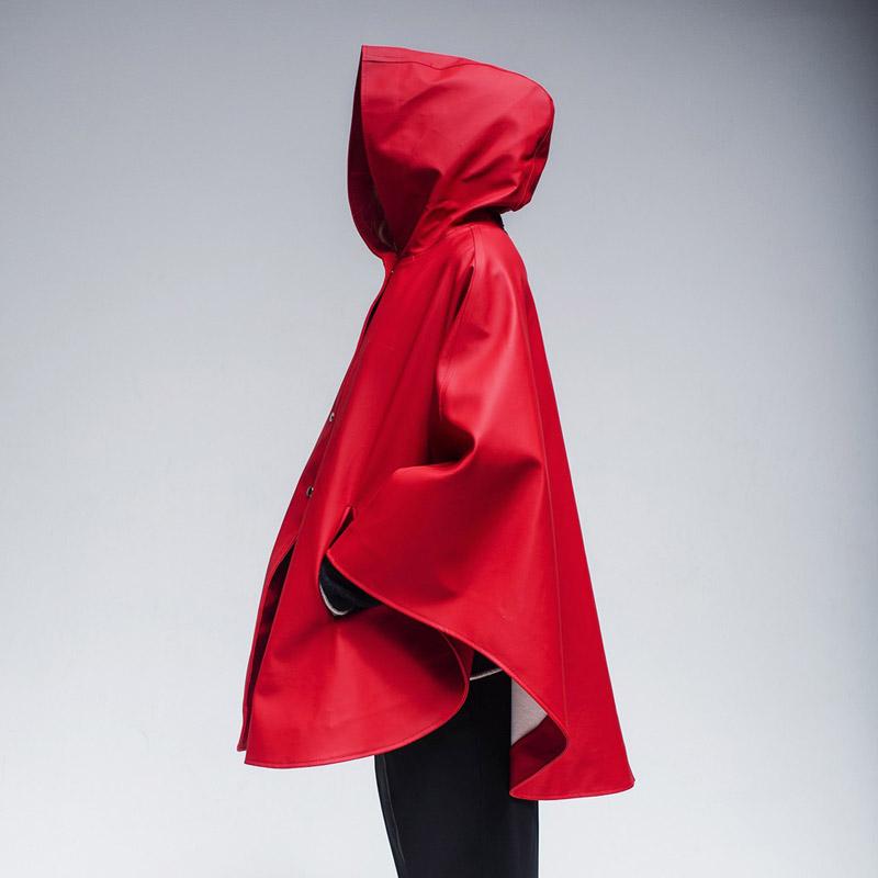 Stutterheim – pršiplášť s kapucí – dámský, pánský – červený