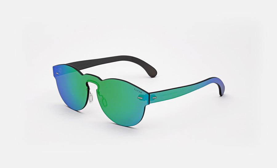 Super by RETROSUPERFUTURE® — sluneční brýle bez obrouček, retrofuturistické, moderní, zrcadlové brýle — zelené, modré — skla Zeiss