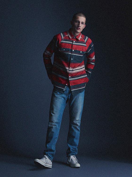 Carhartt WIP — pánská modro-červená košile, dlouhý rukáv, džíny (jeansy) — podzim/zima 2015, pánské oblečení