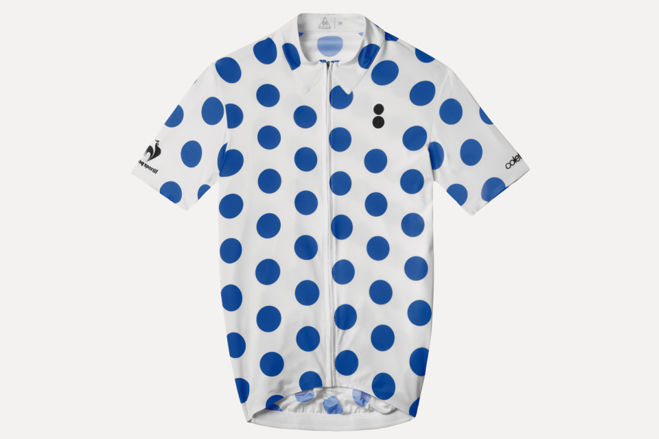 Collete x Le Coq Sportif – bílý cyklistický dres s modrými kolečky – Tour de France 2015