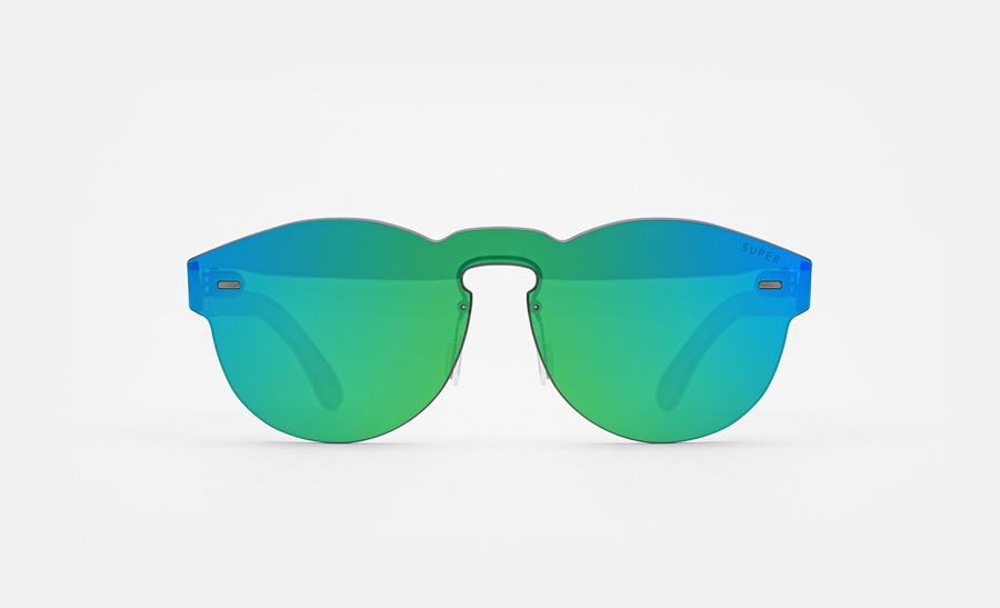 Super by RETROSUPERFUTURE® — retrofuturistické sluneční brýle bez obrouček, moderní, zrcadlové brýle — zelené, modré — skla Zeiss