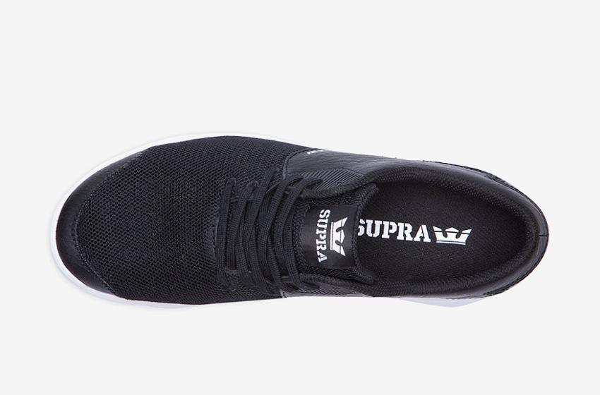 Boty Supra Noiz Black White — černé, horní pohled, pánské, dámské, sneakers, tenisky