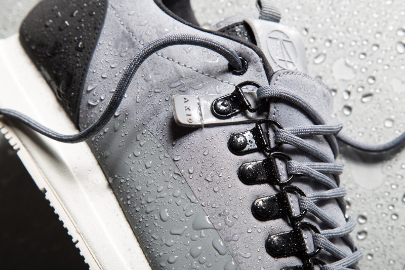 Akio — šedé tenisky, pánské a dámské boty, sneakers, detail, voděodolné, nepromokavé — The Orion — Rain City Pack