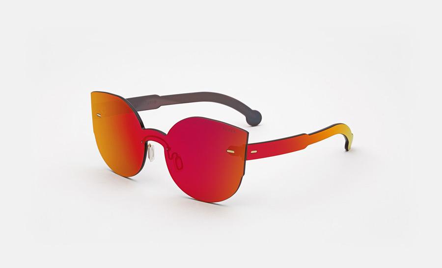 Super by RETROSUPERFUTURE® — retrofuturistické sluneční brýle bez obrouček, moderní, zrcadlové brýle — červené, oranžové — skla Zeiss