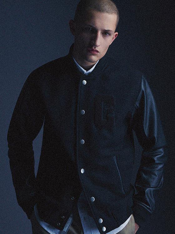 Carhartt WIP — pánský černý bomber, lesklé rukávy, bunda do pasu — podzim/zima 2015, pánské oblečení