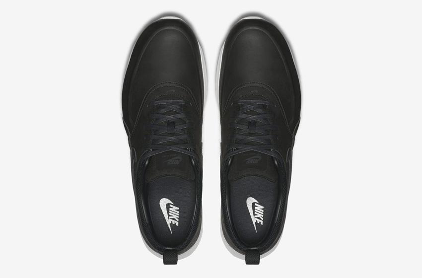 Nike Air Max Thea Premium Black — dámské boty — černé, kožené, tenisky, sneakers — horní pohled