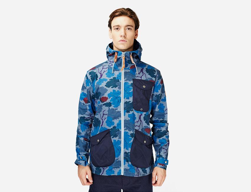Penfield — pánská modrá bunda s motivem stromů a listů s kapucí — pánské oblečení jaro/léto 2015
