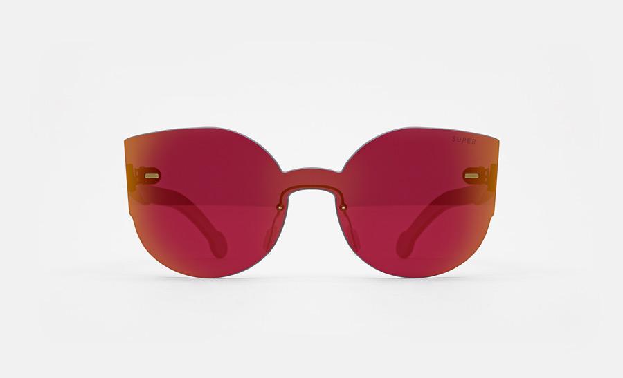 Super by RETROSUPERFUTURE® — sluneční brýle bez obrouček, retrofuturistické, moderní, zrcadlové brýle — červené, oranžové — skla Zeiss