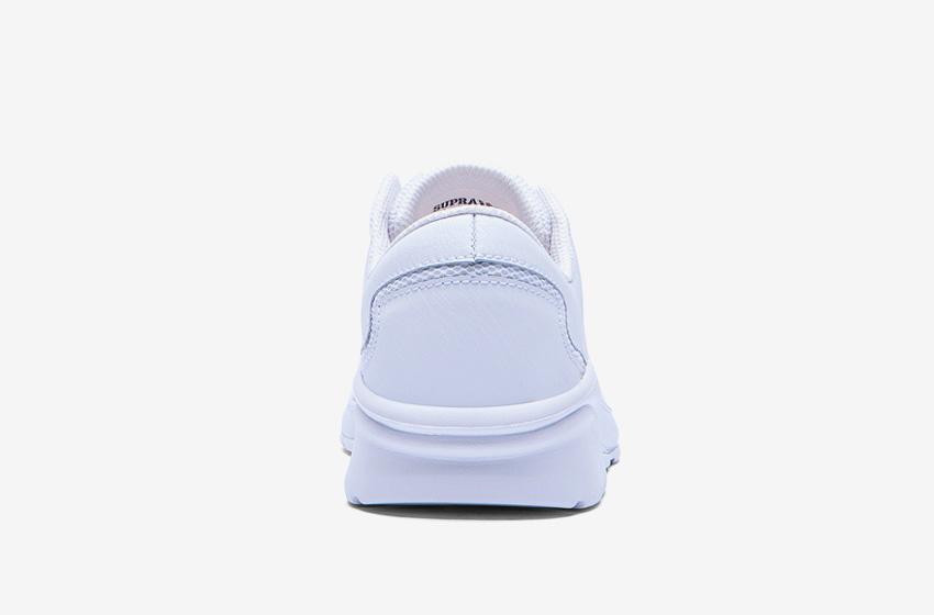 Boty Supra Noiz White — bílé, zadní pohled, pánské, dámské, sneakers, tenisky
