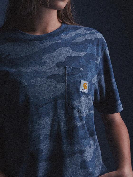 Carhartt WIP – maskáčové tričko s kapsičkou, modré, dámské – podzim/zima 2015, dámské oblečení