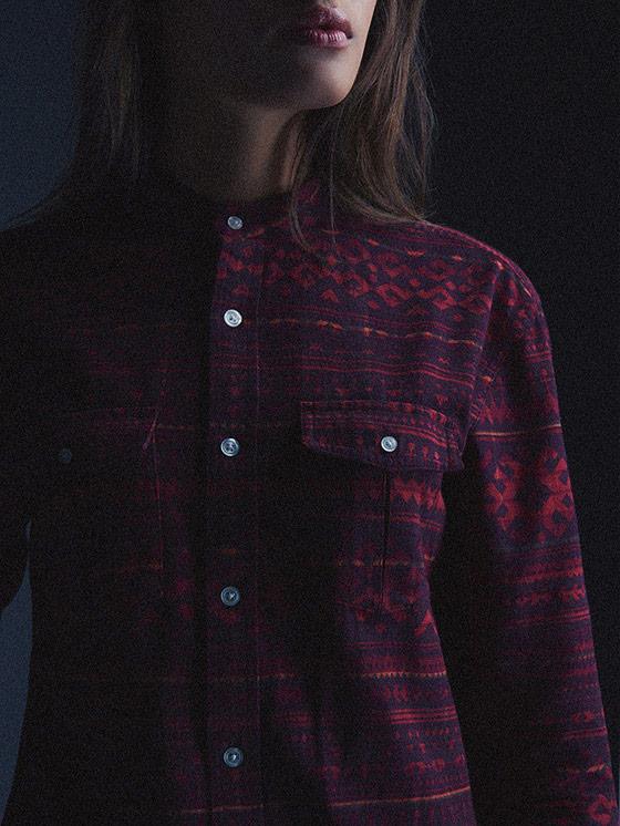 Carhartt WIP – červená bavlněná košile se vzorem, dámská – podzim/zima 2015, dámské oblečení