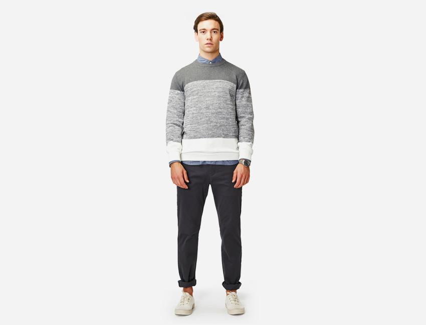 Penfield — pánský šedý svetr, pánské šedé kalhoty — pánské oblečení jaro/léto 2015