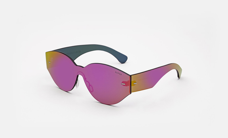 Super by RETROSUPERFUTURE® — sluneční brýle bez obrouček, retrofuturistické, moderní, zrcadlové brýle — fialové — skla Zeiss