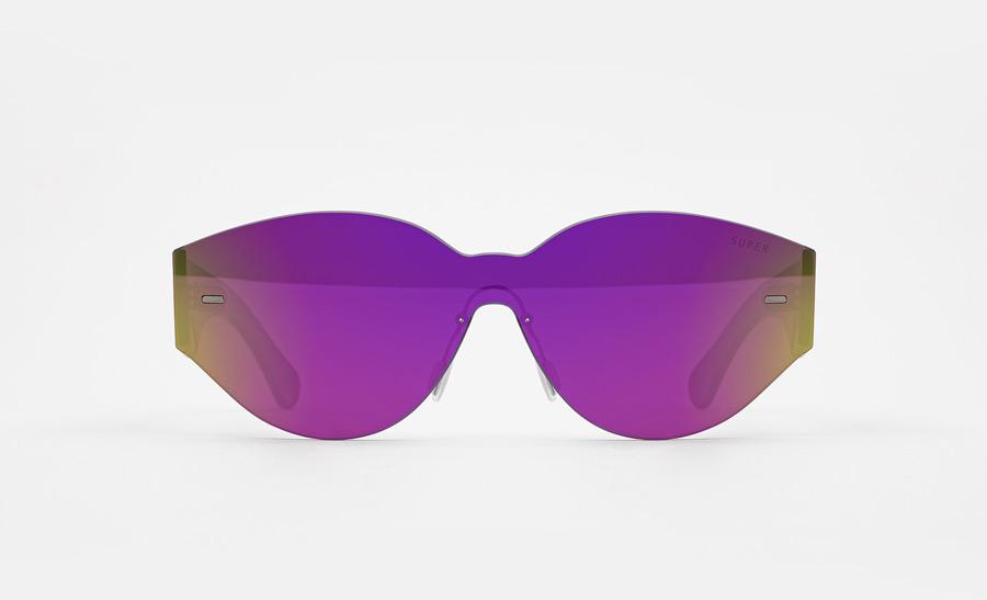 Super by RETROSUPERFUTURE® — retrofuturistické sluneční brýle bez obrouček, moderní, zrcadlové brýle — fialové — skla Zeiss