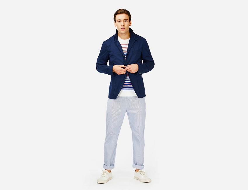 Penfield — modré casual pánské sako, bledě modré kalhoty — pánské oblečení jaro/léto 2015