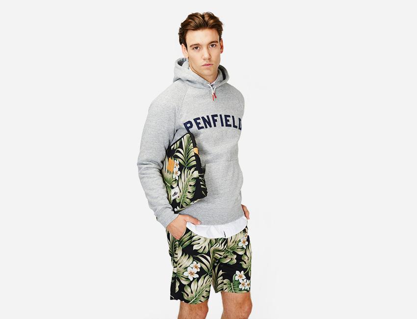 Penfield — šedá (melange) mikina s kapucí, šortky s rostlinným motivem – Monstera — pánské oblečení jaro/léto 2015