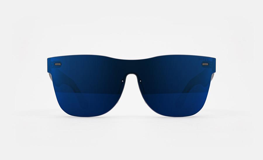 Super by RETROSUPERFUTURE® — sluneční brýle bez obrouček, retrofuturistické, moderní, zrcadlové brýle — modré — skla Zeiss