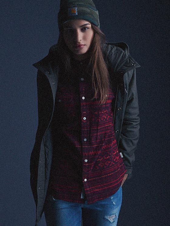 Carhartt WIP – bavlněná košile se vzorem – dámská, bunda s kapucí – podzim/zima 2015, dámské oblečení
