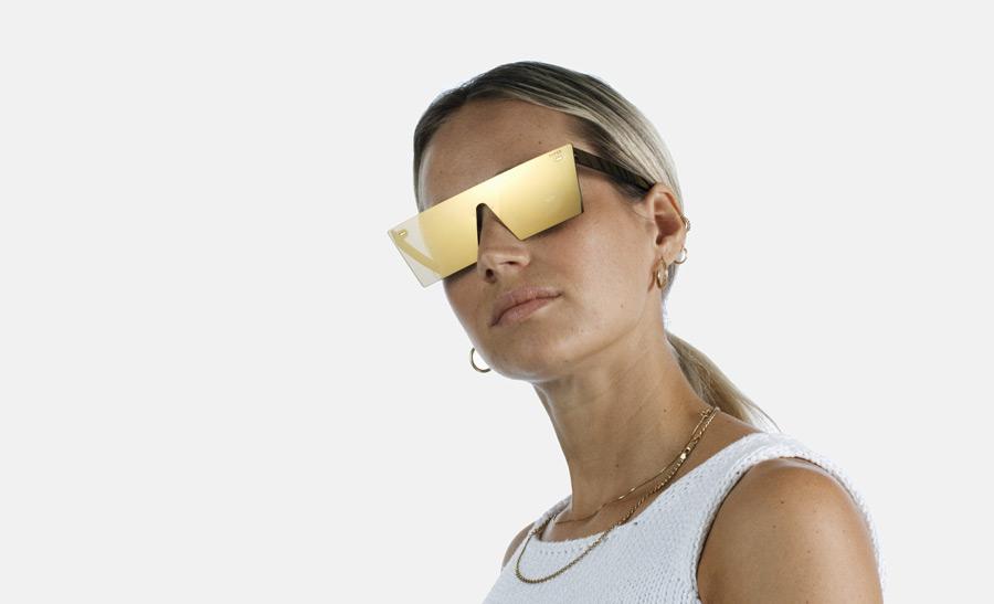 Super by RETROSUPERFUTURE® — retrofuturistické sluneční brýle bez obrouček, moderní, zrcadlové brýle — zlaté — skla Zeiss