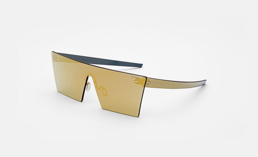 Super by RETROSUPERFUTURE® — sluneční brýle bez obrouček, retrofuturistické, moderní, zrcadlové brýle — zlaté — skla Zeiss