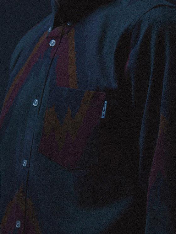 Carhartt WIP — modrá košile se vzorem, dlouhý rukáv — podzim/zima 2015, pánské oblečení