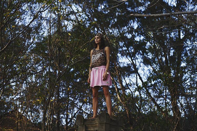 Femi Pleasure – leopardí tílko – dámské, růžová sukně – dámské oblečení – jaro/léto 2015