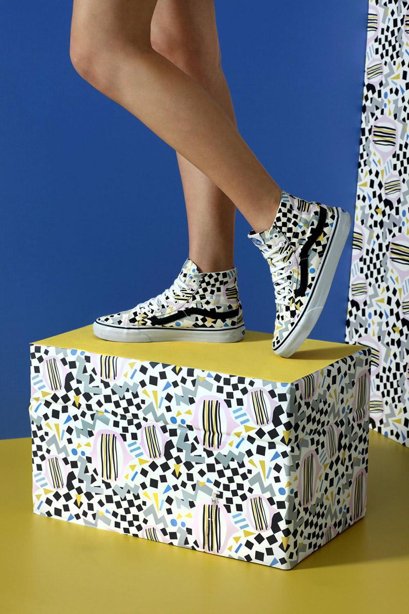 Vans x Eley Kishimoto — kotníkové boty Vans Sk8-Hi  se vzorem Slim Drums — oblečení, boty a doplňky Living Art