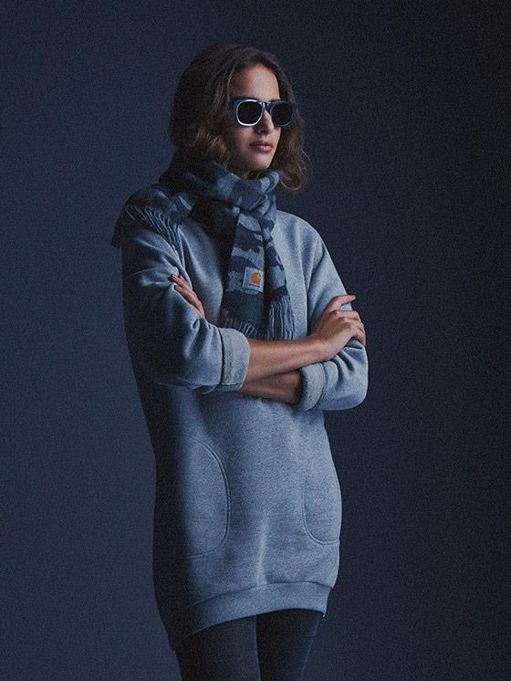 Carhartt WIP – dámská dlouhá mikina, šedá, šedý melír – podzim/zima 2015, dámské oblečení