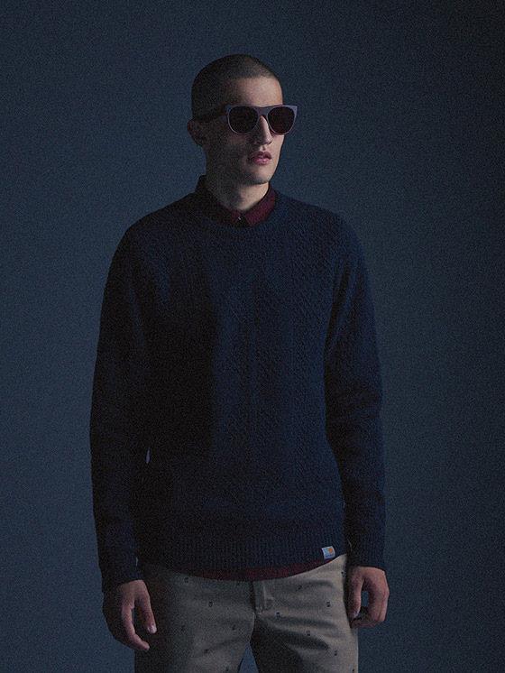 Carhartt WIP — pánský modrý svetr — podzim/zima 2015, pánské oblečení