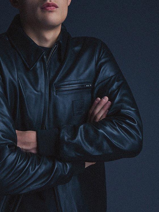 Carhartt WIP — pánská krátká kožená bunda s límečkem, černá — podzim/zima 2015, pánské oblečení