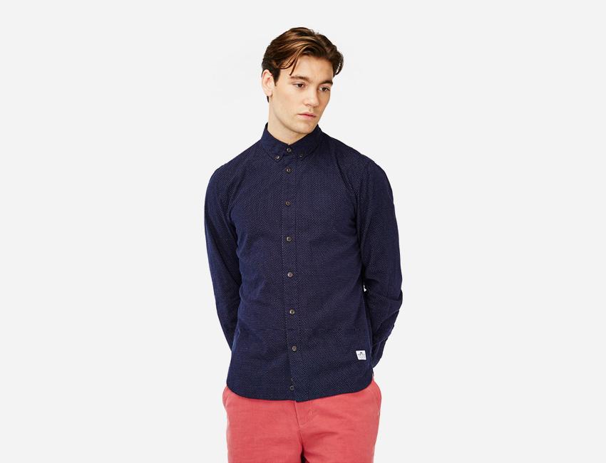 Penfield — pánská modrá košile s dlouhým rukávem — pánské oblečení jaro/léto 2015