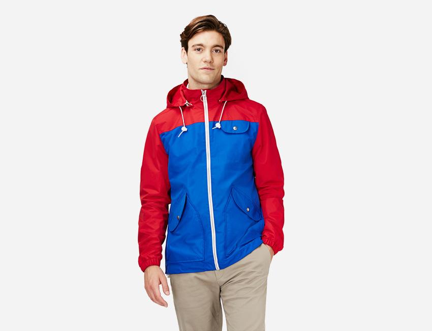 Penfield — pánská červeno-modrá sportovní bunda s kapucí — pánské oblečení jaro/léto 2015
