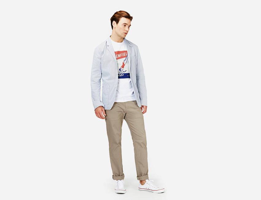 Penfield — pánské bledě modré casual sako, khaki pánské kalhoty — pánské oblečení jaro/léto 2015