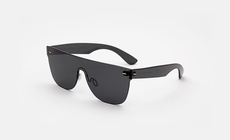 Super by RETROSUPERFUTURE® — sluneční brýle bez obrouček, retrofuturistické, moderní brýle — černé — skla Zeiss