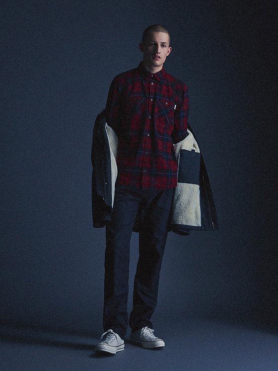 Carhartt WIP — pánská károvaná košile s dlouhým rukávem, modré kalhoty — podzim/zima 2015, pánské oblečení