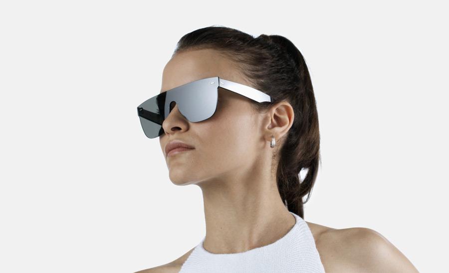 Super by RETROSUPERFUTURE® — retrofuturistické sluneční brýle bez obrouček, moderní, zrcadlové brýle — černé — skla Zeiss
