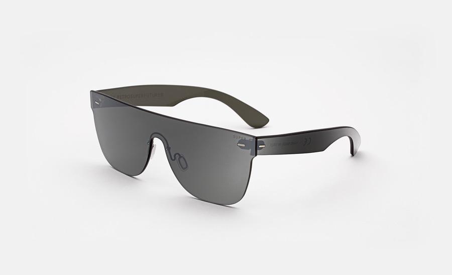 Super by RETROSUPERFUTURE® — sluneční brýle bez obrouček, retrofuturistické, moderní, zrcadlové brýle — černé — skla Zeiss