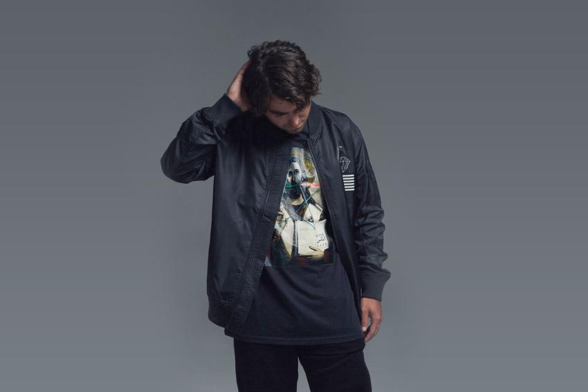 Black Scale x Diamond Supply Co. — černý bomber (krátká bunda do pasu), černé tričko s potiskem