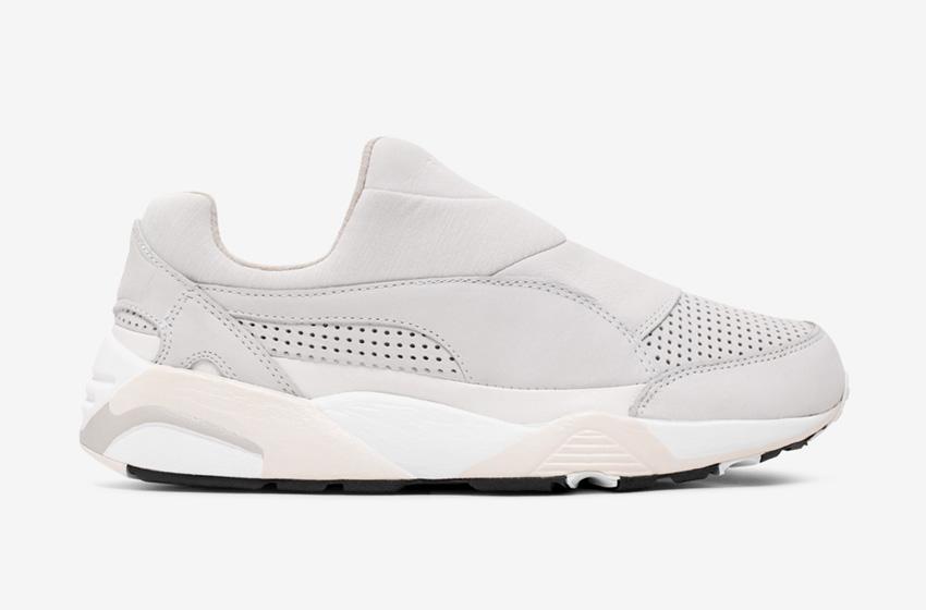 Stampd x Puma Trinomic Sock — dámské a pánské boty bez tkaniček, šedé, futuristické tenisky, moderní sneakers