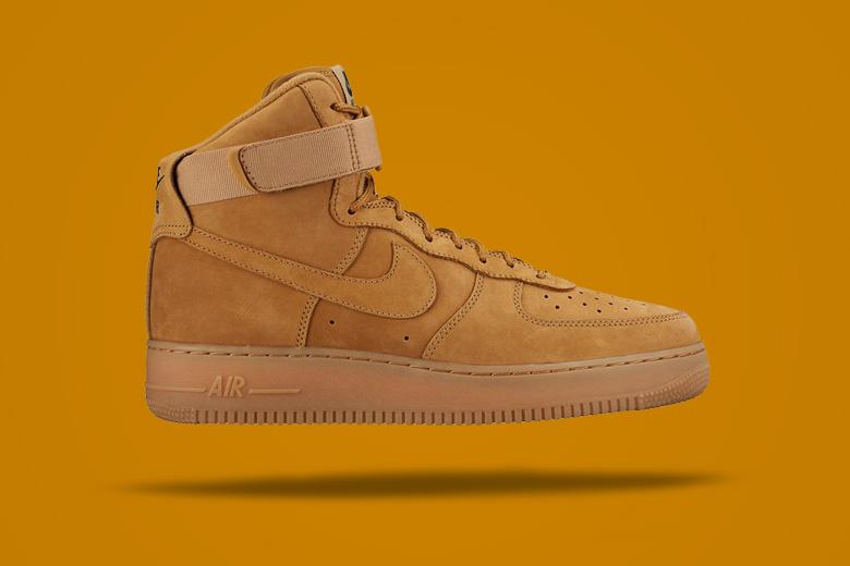 Nike Air Force 1 High Wheat — hnědé kotníkové boty, sneakers, pánské, dámské, pískové