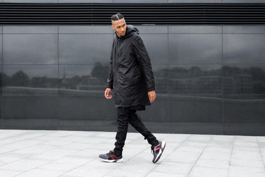 Puma Trinomic R698 — černé, červený detail, sneakers, tenisky, pánské, dámské