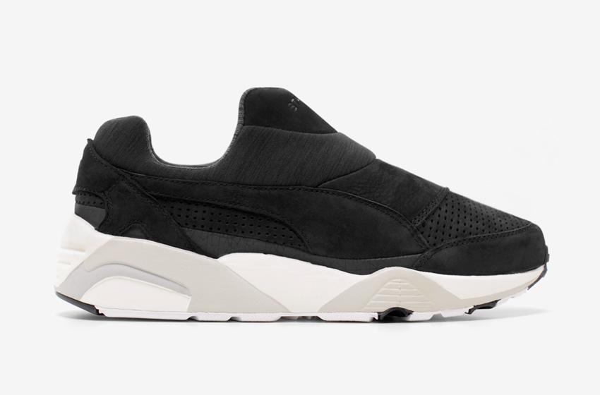 Stampd x Puma Trinomic Sock — dámské a pánské boty bez tkaniček, černé, futuristické tenisky, moderní sneakers